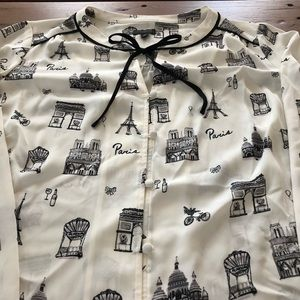 f507f1418d697a Talbots Tops - NWOT Talbots Paris printed tie front blouse